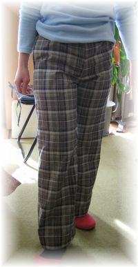 Pants with checked cloth