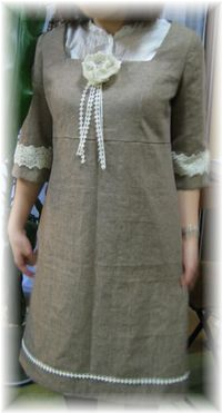 cotton linen dress with lace