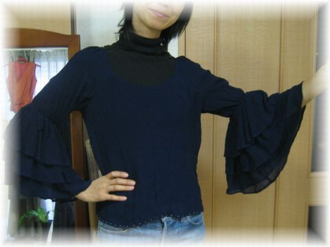 remake blouse with frilly sleeve